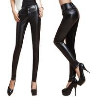 2014 Autumn Winter Women's Fashion Elastic PU Pants Trousers Button Fly Skinny Full Length Pants Warm Velvet Faux Leather Pants