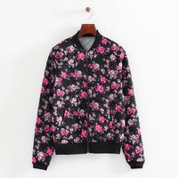 2014 New Autumn Lady Floral Prints Cotton Blends Jackets Women Fashion Long Sleeves Coats 3041316804
