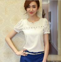 2014 summer new short-sleeved chiffon shirt female hollow stitching Slim V-neck white shirt tide