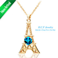 2014 New Arrival Christmas Gift Cloth Accessories Crystal Jewelry Meet Paris Necklace The Eiffel Tower of fashionable Romance