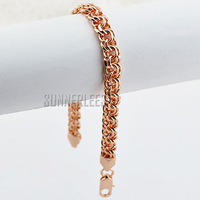 7mm Fashion Jewelry Mens Womens Double Rolo Link Chain 18K Rose Gold Filled Bracelet Free Shipping Gold Jewellery GFB148