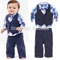 New Hot Autumn Childs Baby Boys Shirt + Vest + Pants Clothes Sets Suit Outfits 3PCS