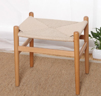 EMS shipping, 2 pieces/lot  beech wood rattan cushion Hans Wegner low stool