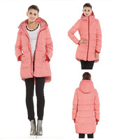 Free shipping!New 2014 fashion down & parkas Duck Down Jacket Warm Winter coat Women Thicken polka dot coat Long Parkas S-3XL