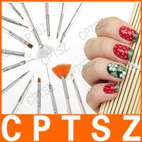 15pcs Nail Art Decoration Painting Pen Polish Brush Set Liners Dot Tool