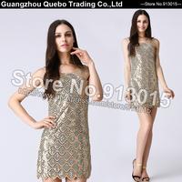 2015 New Summer Dress Europe Golden Green Sequin BLING BLING Metallic Paillette Sexy Club Wear Women Party Dresses QBD111