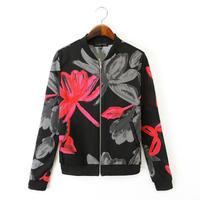 2014 New Autumn Women Cute Floral Prints Mesh Jacket Ladies Casual Long Sleeves Outwear 3039209904