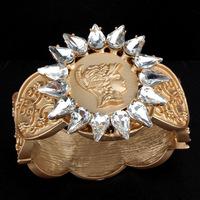 European and American retro exaggerated fashion Rhinestone Bangles female beauty head carved baroque bracelet jewelry