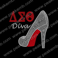 Free Shipping Wholesale 50Pcs/Lot Greek Letters AEO Diva Glitter Rhinestone Transfer High Heel Motifs For Garment
