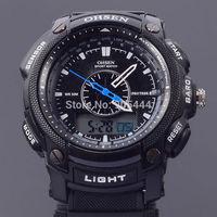 OHSEN Mens Day Date Alarm Stopwatch Chronograph Analog Digital Quartz Black Silicone Band Wrist Watch W028