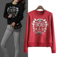 2014 autumn new fashion embroidery round collar sweatshirts Long sleeve Pullovers hoodies coat