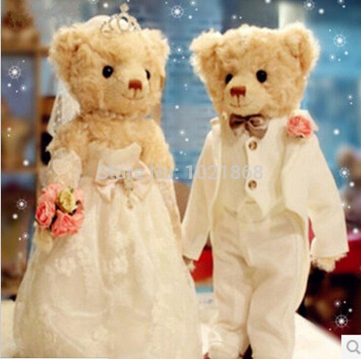 Beautiful Design Teddy Bears Catoon lovers bear married bear doll soft figure stuffed toy for girls and boys wedding gift plush(China (Mainland))