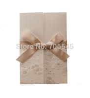 Free shipping,50 sets/lot Wedding invitations Cards,Ribbon Wrap Cover,Printable Inner Sheet