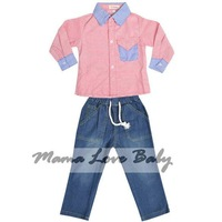 3 PCS/LOT Free Shipping Handsome Boys Clothing Set Kids Stripe T-shirt + Jeans Pants 2 piece set SV006695