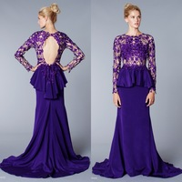 OEM301 Mermaid Open Back See Through Bodice Long Sleeve Purple Sexy Mother of the Bride Dresses