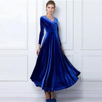 New 2014 Autumn Winter Women Dress High Waist V-Neck Long Sleeve Casual Warm Maxi Dresses Vestidos Femininos Plus Size 148157