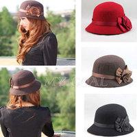 Vintage Women Flower Ribbon Rose Fedora Hat Cloche Bucket Floppy Cap Headwear