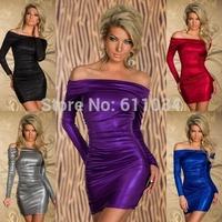 Newest!Spring Autumn Women Clothes Long Sleeve Slash neck Slim Part evening Dresses 5color M-XL