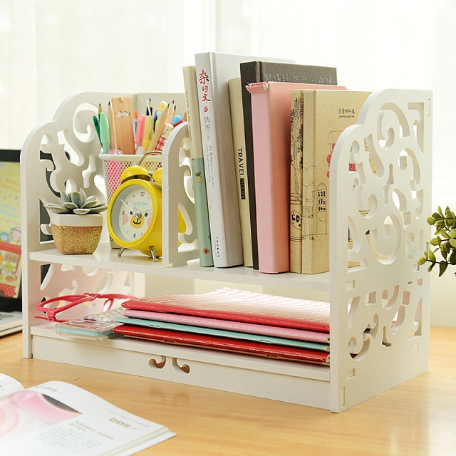 2014 Fashion Home & Office Desk Organizer, DIY desktop Storage Rack, White Ornamental Engraving Mini Wood BookShelf(China (Mainland))