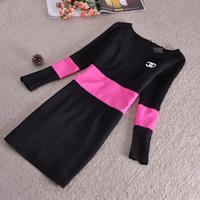 Women Autumn Thick Dress Patchwork Rose Green Black O-Neck Office Dress Casual Slim Plus Size Dresses M L XL XXL Women Clothes