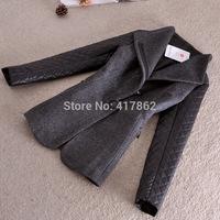 Free shipping U&Me Wholesale winter new 2014 mandarin Collar PU stitching diamond Plaid sleeve wool coat jacket women