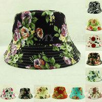 Unisex Bucket Floral Hunting Fishing Hiking Summer Sun Cap Beach Foldable Hat