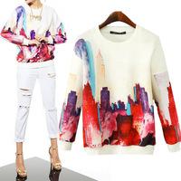 2014 autumn new fashion digital printing loose round collar sweatshirts Long sleeve Pullovers hoodies women's tops
