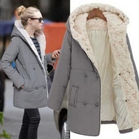 New Fashion 2014 Autumn And Winter Women Hooded Collar Cotton-Padded Casual Women Coat  Medium-Long Wadded Jacket Thickening