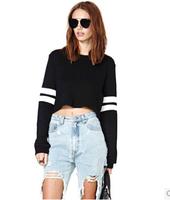 2014 Autumn Unique High Street Trend All-match Brief Women Short Tops Stripe Stitch Sports Shirt Bare Midriff Ladies Baseball t