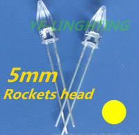 15-20mA Yellow 5mm Rocket head led 585-595nm for Christmas led strip 2.0-2.5V(CE&Rosh)