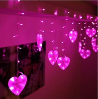 3x0.75m 120 SMD Big Hearts LED Light String Christmas Wedding Party New year Decorations Curtain Background Light