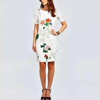 2014 Autumn New Brand Women Oriental Charm Dress Tunic Clubwear Short Sleeve O-Neck Print Dress CJ 6108