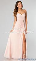 Side Slit Elegant Sweetheart Chiffon Pink Bridesmaid Dress Long HM687 Wedding Party Dress