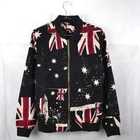 2014 Autumn casual men flag jackets Fashion baseball collar design jacket casual tracksuit denmin zipper outwear two colors Coat