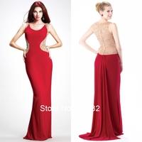 Flaring Sheath Celebrity Style Women O-neck Sleeveless Floor Length Beaded Red Prom Dresses Long 2015 Free Shipping