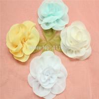 free shipping , 100 pcs / lot headband 2.2 '' chiffon flowers  hair accessories  chifflon flowers
