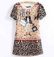 2014 Fashion Summer New Chiffon Cartoon Girl Print Leopard Short Sleeve Dress Short Sleeve Shift Mini Dress In Stock S M L