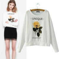 2014 autumn new fashion flower letters sweatshirts Long sleeve Pullovers hoodies women's tops