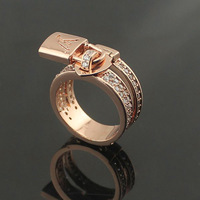 L lock ring inlaid artificial diamond rose gold rings for men and women