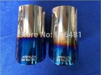 Tip 9.0cm Inlet Blue Stainless Steel Exhaust Resonator Muffler For Mazda