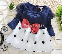 Baby girls 2014 new Korean Dot Bow Ball Gown baby girl  Cute Knee Length Dress Girl Dress