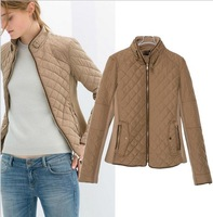 2014 winter new diamond stitching couture cotton-padded jacket Leisure thick cotton jacket zipper With thick short coat