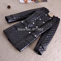 Free shipping U&Me Wholesale winter new 2014 Korean Women Slim and long sections fashion women's PU leather jacket coat