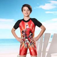 2015 new children's dynamic superman swimsuitcartoon one piece swimwear conjoined boxer boy swimming trunks kids' beachwear