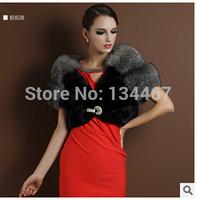Winter 2014 new fashion warm winter in Europe fox fur shawl rabbit fur vest coat -G087