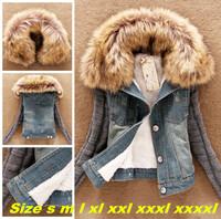 Plus Size S-4XL 2014 Fashion New Women Denim Jacket Autumn Winter Women's Slim Fur Collar Lamb Cotton Outwear Jeans Coats RY05