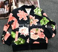 2014 Newest Fashion black children girl coat flower zipper autumn high quality jacket kid girls popular outwear