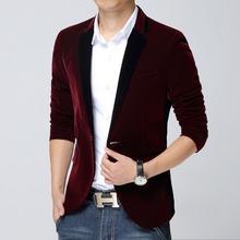 Men Velvet Blazer Slim Fit Casual Suit Jacket High Quality Long Sleeve Mens Red Blue Velvet Blazer Jackets Blaser Masculino(China (Mainland))
