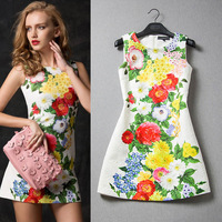 twods 2014 floral printed dress embossed colorful flower printing high quality women dresses o neck sleeveless