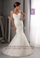 WWL264 Sexy Mermaid V-neck Cap Sleeve Crystal Appliques Chiffon Long Wedding Dress 2014